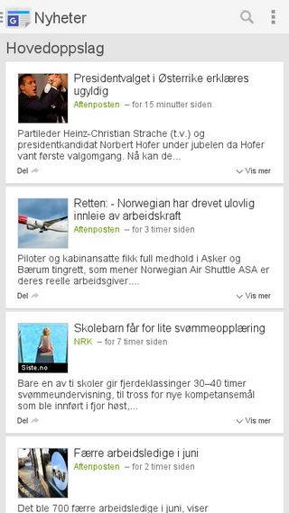 Mobile preview of news.google.no