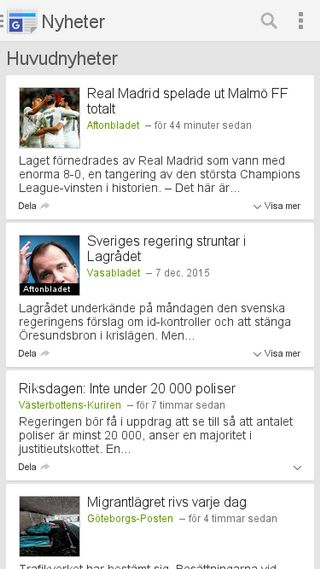Mobile preview of news.google.se