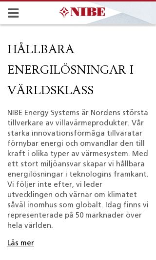 Mobile preview of nibe.se