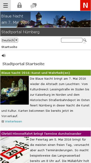 Mobile preview of nuernberg.de