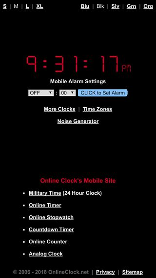 Mobile preview of onlineclock.net