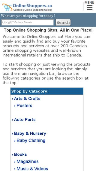 Mobile preview of onlineshoppers.ca
