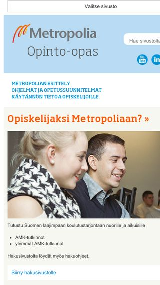 Mobile preview of opinto-opas.metropolia.fi