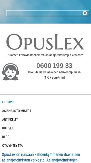 Mobile preview of opuslex.fi