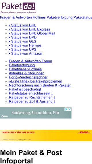 Mobile preview of paketda.de