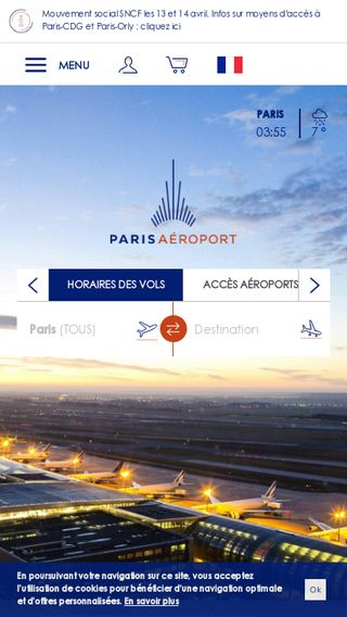 Mobile preview of parisaeroport.fr