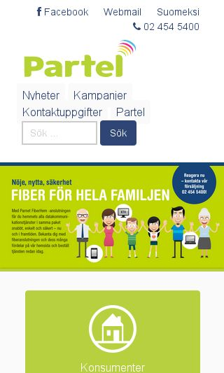 Mobile preview of partel.fi