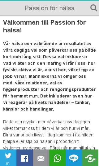 Mobile preview of passionforhalsa.se