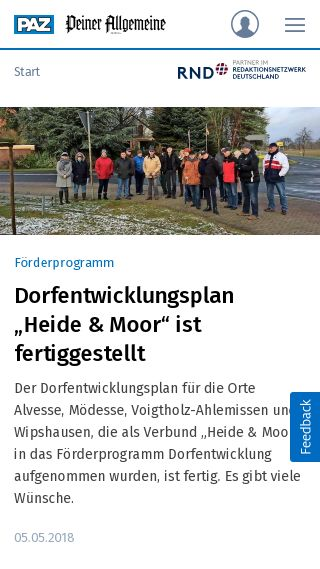 Mobile preview of paz-online.de