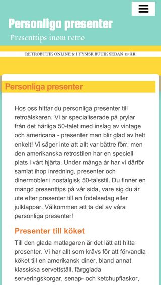 Mobile preview of personligapresenter.nu