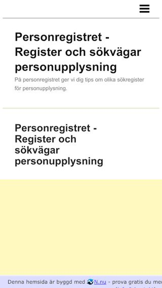 Mobile preview of personregistret.n.nu