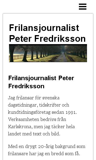 Mobile preview of peterfredriksson.se