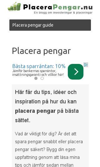 Mobile preview of placerapengar.nu