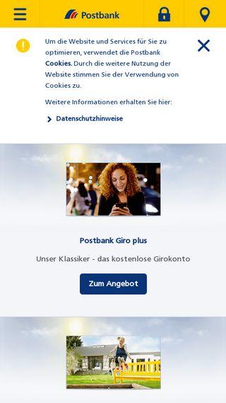 Mobile preview of postbank.de