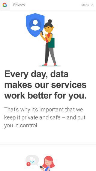 Mobile preview of privacy.google.com