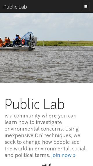 Mobile preview of publiclab.org
