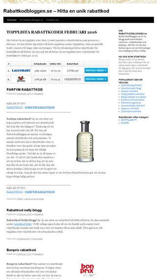 Mobile preview of rabattkodbloggen.se