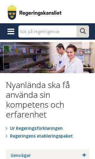 Mobile preview of regeringen.se