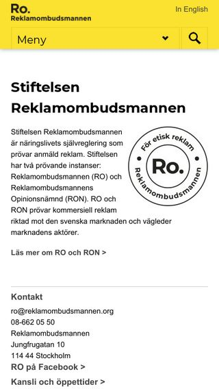Mobile preview of reklamombudsmannen.org