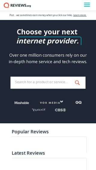 Mobile preview of reviews.org