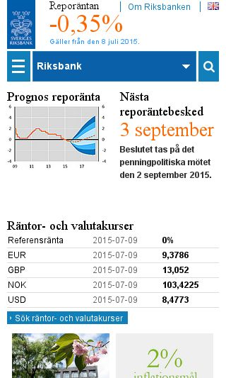 Mobile preview of riksbanken.se
