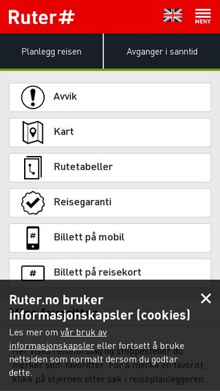 Mobile preview of ruter.no