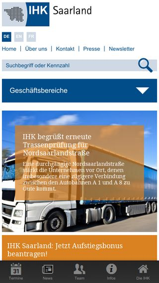 Mobile preview of saarland.ihk.de