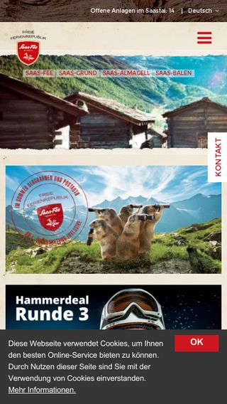 Mobile preview of saas-fee.ch
