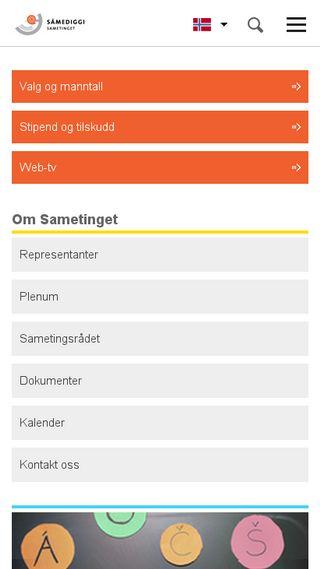 Mobile preview of sametinget.no