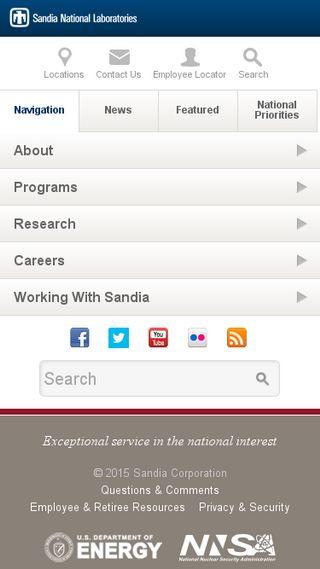 Mobile preview of sandia.gov