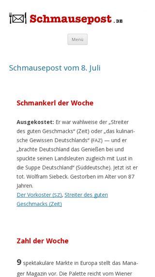 Mobile preview of schmausepost.de