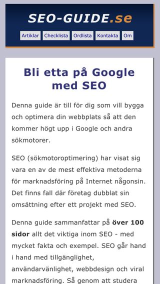 Mobile preview of seo-guide.se