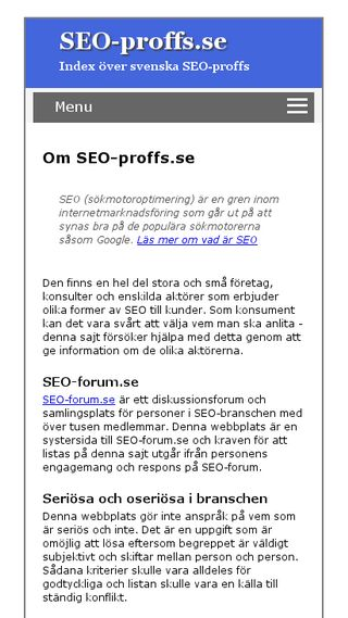 Mobile preview of seo-proffs.se