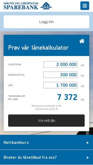 Mobile preview of sgsparebank.no