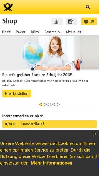 Mobile preview of shop.deutschepost.de
