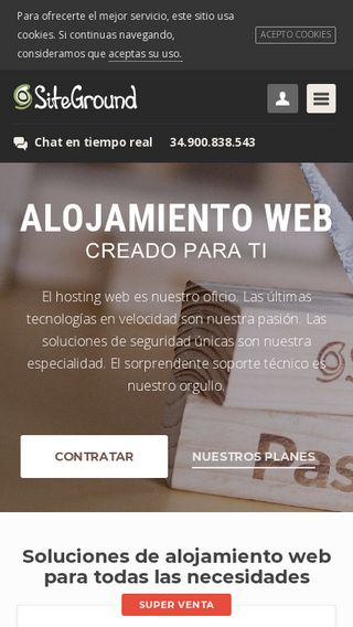 Mobile preview of siteground.es