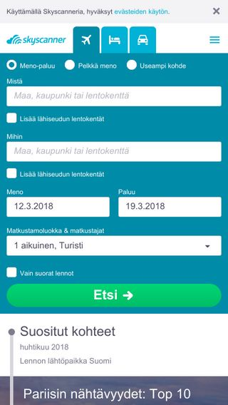 Mobile preview of skyscanner.fi