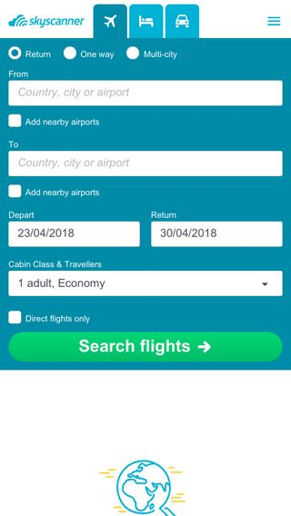 Mobile preview of skyscanner.ie
