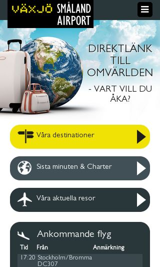 Mobile preview of smalandairport.se