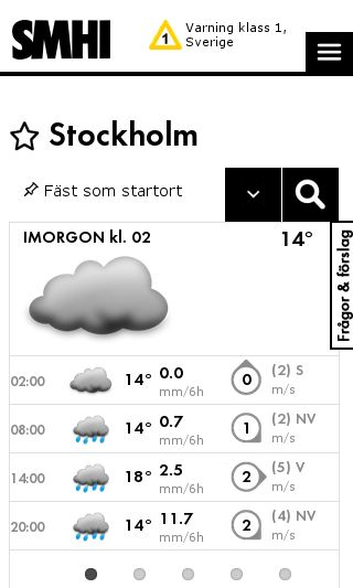 Mobile preview of smhi.se