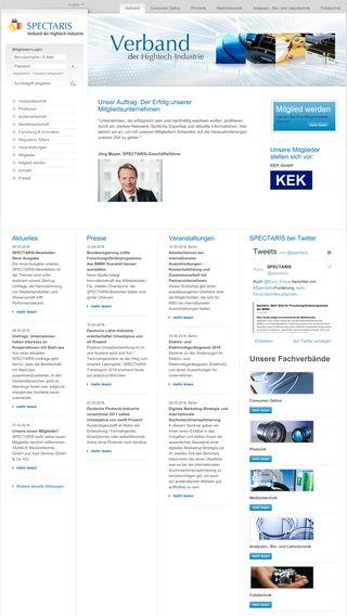 Mobile preview of spectaris.de