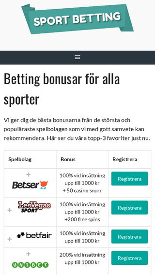 Mobile preview of sport-betting.nu
