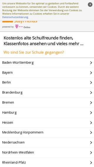 Mobile preview of stayfriends.de