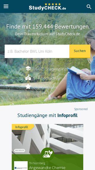 Mobile preview of studycheck.de