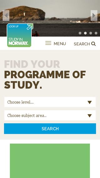 Mobile preview of studyinnorway.no