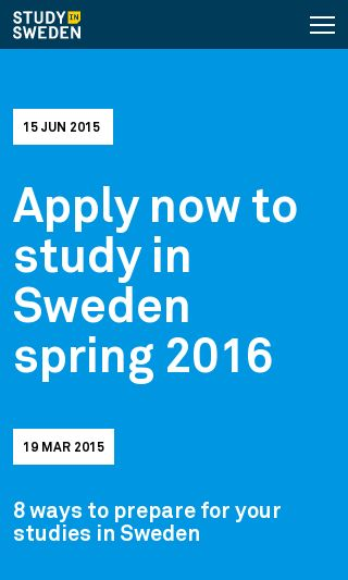 Mobile preview of studyinsweden.se