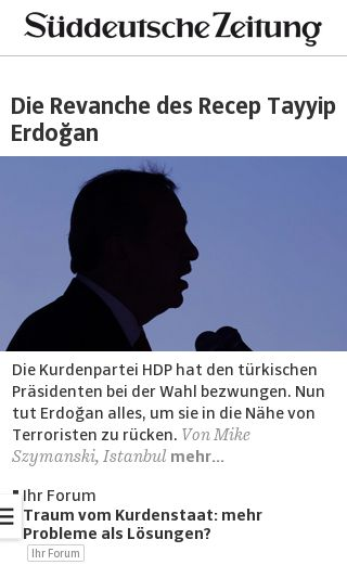 Mobile preview of sueddeutsche.de