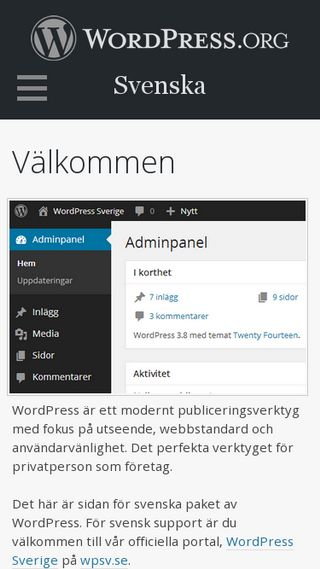 Mobile preview of sv.wordpress.org