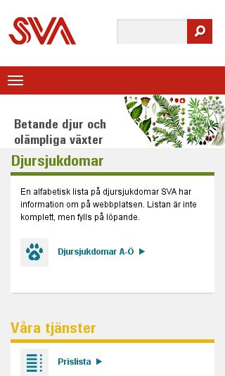Mobile preview of sva.se