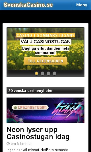Mobile preview of svenskacasino.se